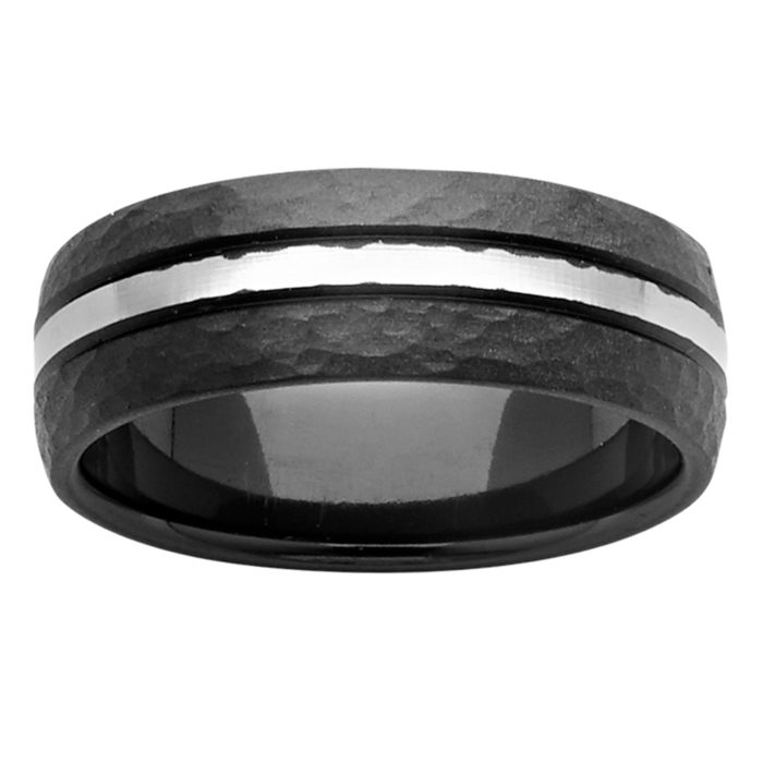 Hammered Zirconium Mens Ring with Central Stripe