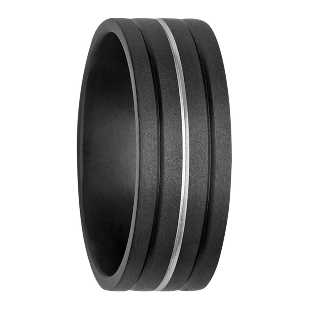 Stripe Accent Black and Silver Tone Zirconium Mens Ring