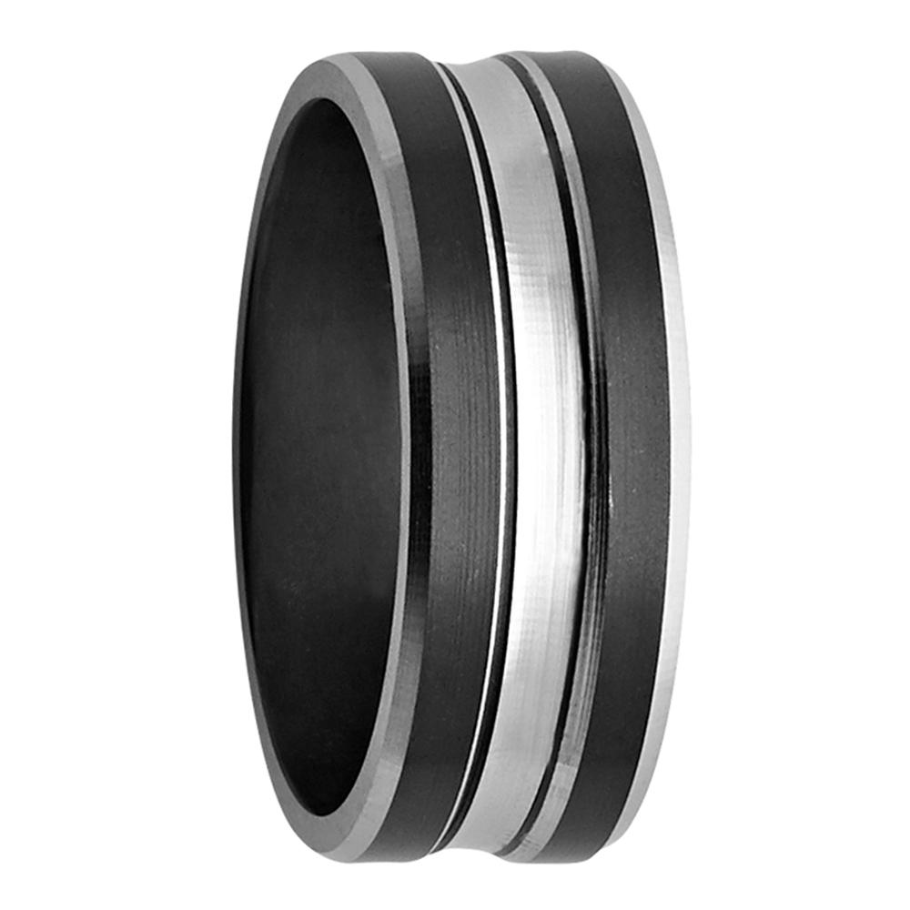 Silver Tone Groove Black Zirconium Mens Ring