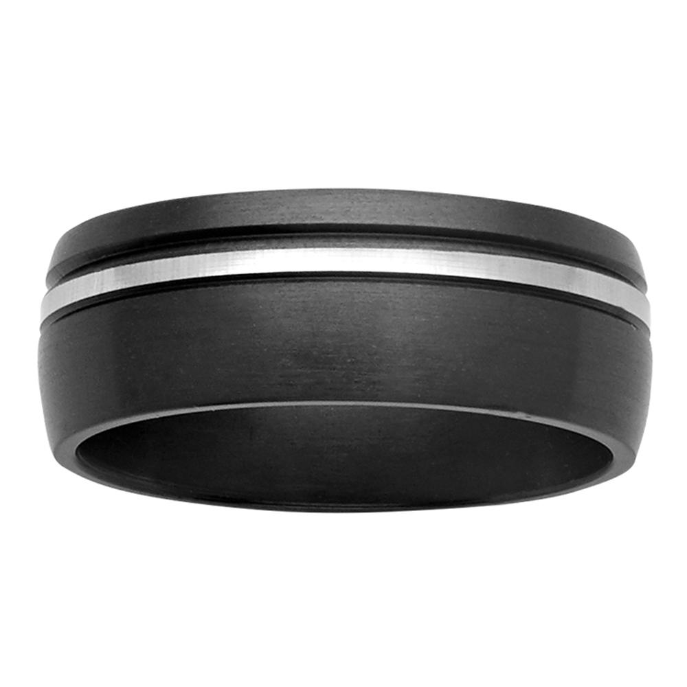Groove Accent Silver Tone & Black Zirconium Mens Ring