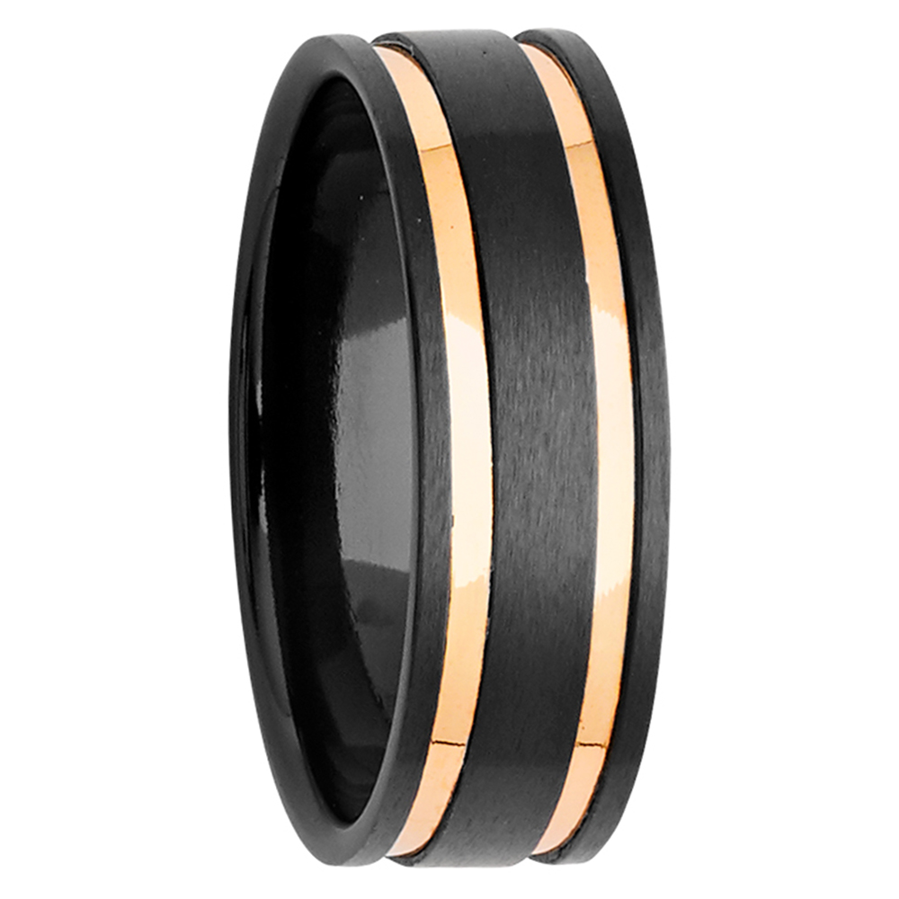 7mm Sanded Black Zirconium Ring with Yellow Gold Inlays