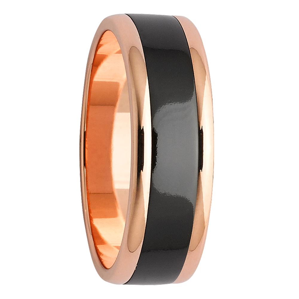 Double Gloss Black Zirconium & Rose Gold Mens Ring
