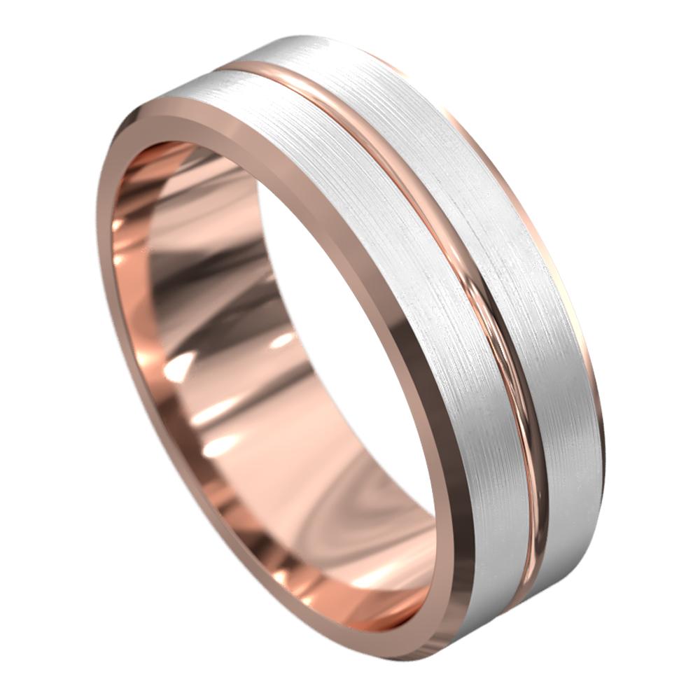 Brushed Rose and White Gold Mens Wedding Ring