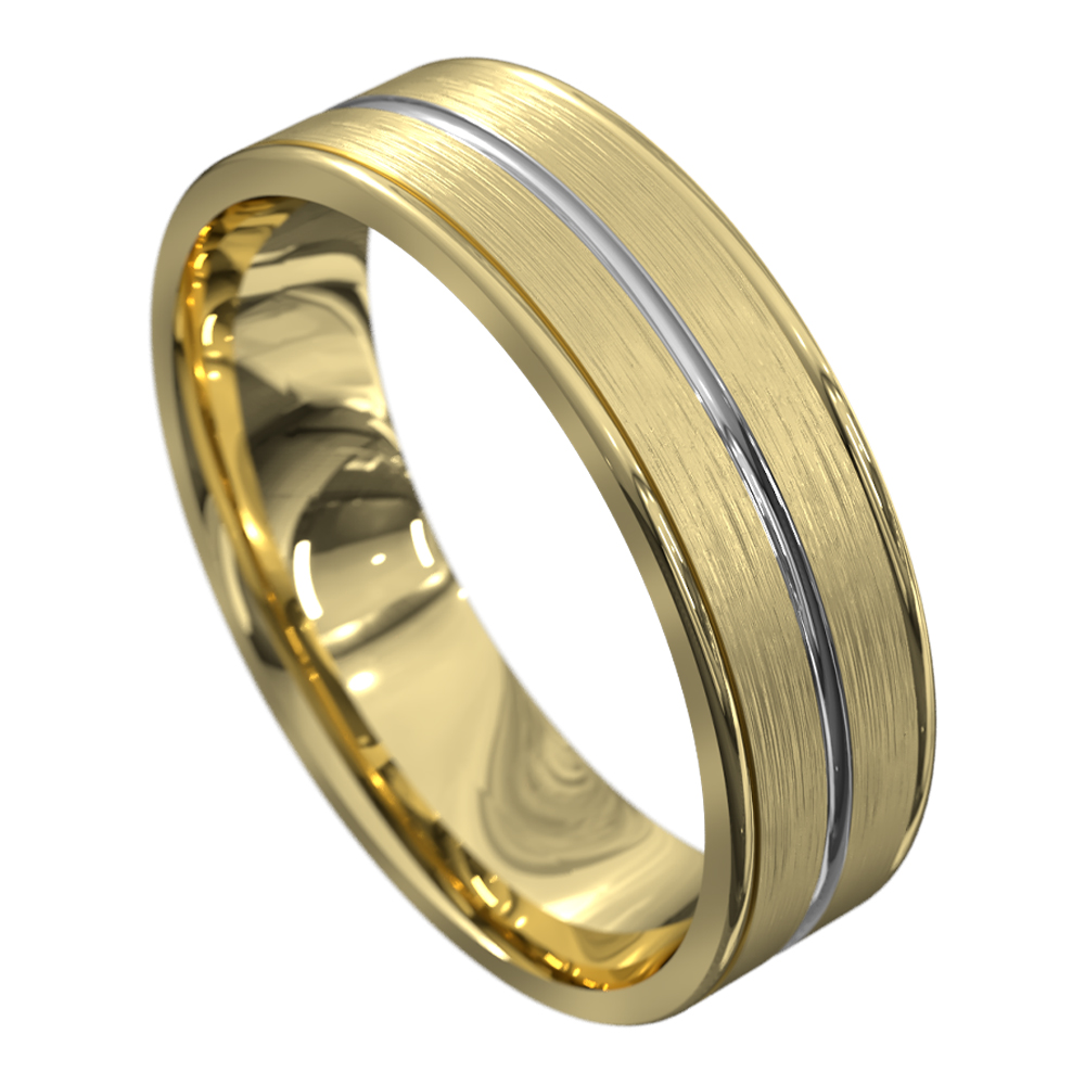 Grooved Yellow and White Gold Mens Wedding Ring