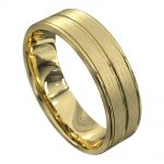 Stunning Yellow Gold Grooved Mens Wedding Ring