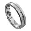 Brilliant White Gold Brushed and Polished Mens Wedding Ring