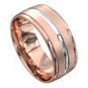 Polished Rose and White Gold Mens Wedding Ring
