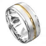 Polished White and Yellow Gold Mens Wedding Ring
