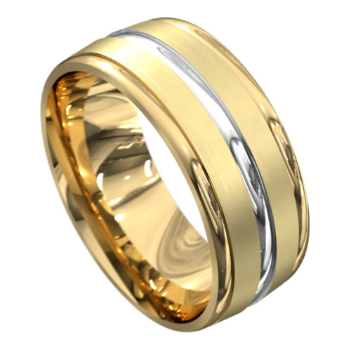 Yellow and White Gold Polished Mens Wedding Ring