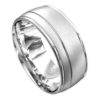 Brilliant White Gold Brushed Finish Mens Wedding Ring