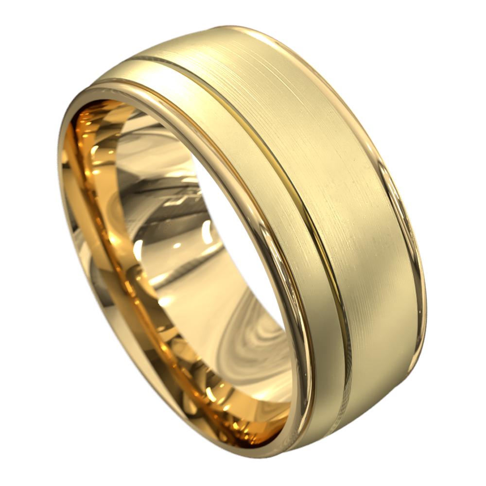 Brushed Finish Yellow Gold Mens Wedding Ring