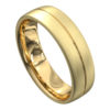 Stunning Yellow Gold Brushed and Polished Mens Wedding Ring