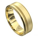 Off Centre Groove Yellow Gold Mens Wedding Ring
