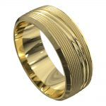 Yellow Gold Grooved Polished Mens Wedding Ring