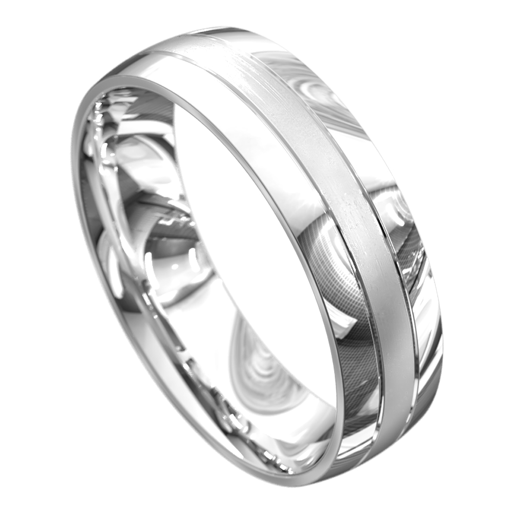 Sensational White Gold Polished Mens Wedding Ring