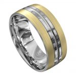 Yellow and White Gold Brushed Mens Wedding Ring