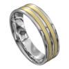 White and Yellow Gold Satin Mens Wedding Ring