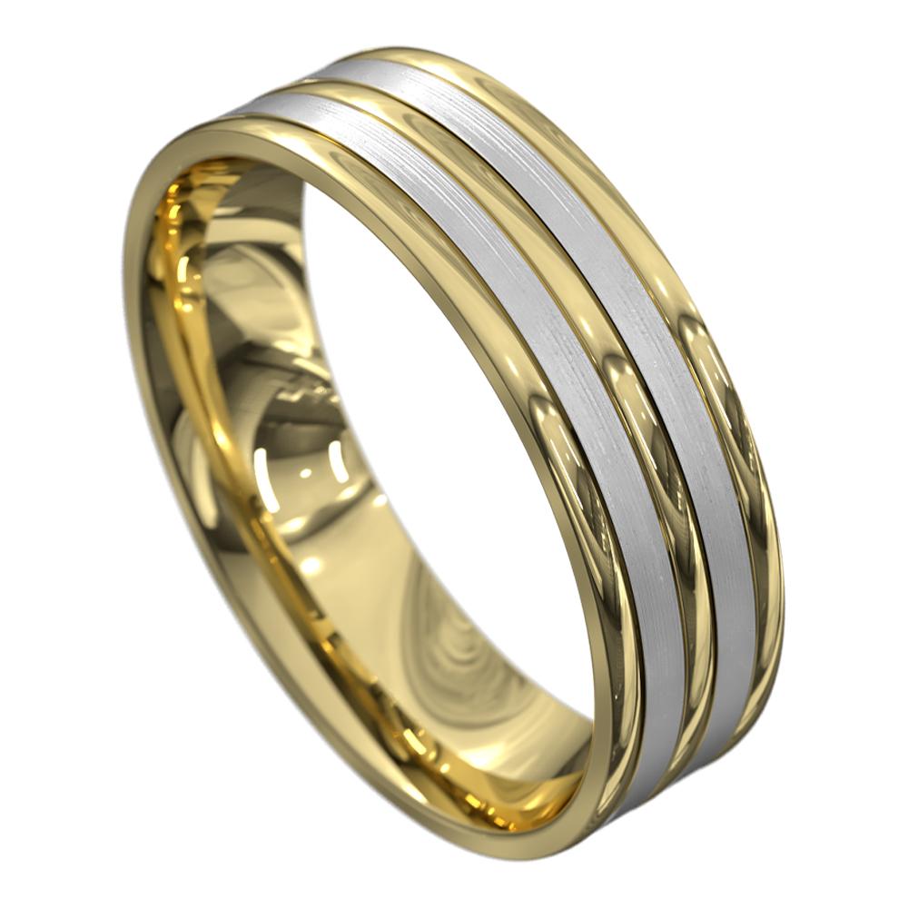 Satin Yellow and White Gold Mens Wedding Ring
