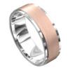White and Rose Gold Brushed Mens Wedding Ring