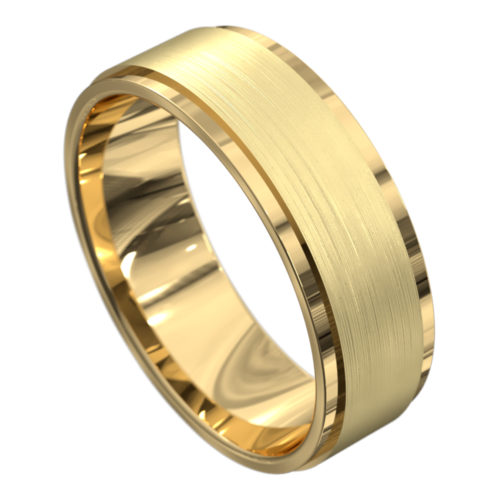 Remarkable Yellow Gold Brushed and Polished Mens Wedding Ring