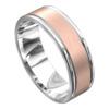 Brushed White and Rose Gold Mens Wedding Ring