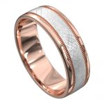 Grooved Rose and White Gold Mens Wedding Ring