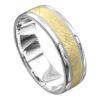 White and Yellow Grooved Mens Wedding Ring