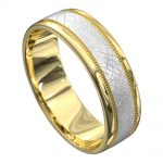 Yellow and White Gold Grooved Mens Wedding Ring