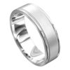 Brilliant White Gold Off Centre Groove Mens Wedding Ring