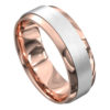 Rose and White Gold Brushed Mens Wedding Ring
