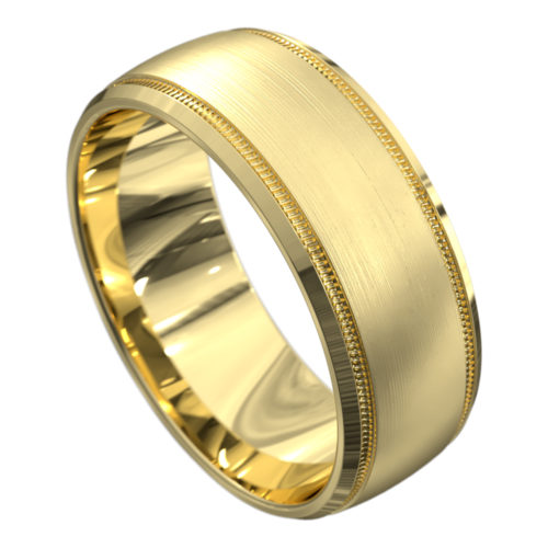 Yellow Gold Brushed and Polished Mens Wedding Ring
