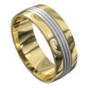 Yellow and White Gold Satin Mens Wedding Ring