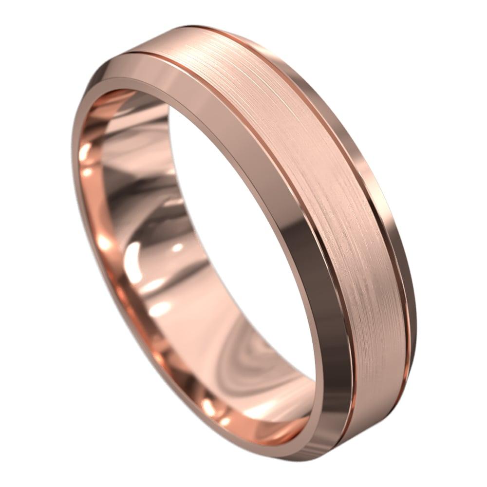 Remarkable Rose Gold Brushed and Polished Mens Wedding Ring