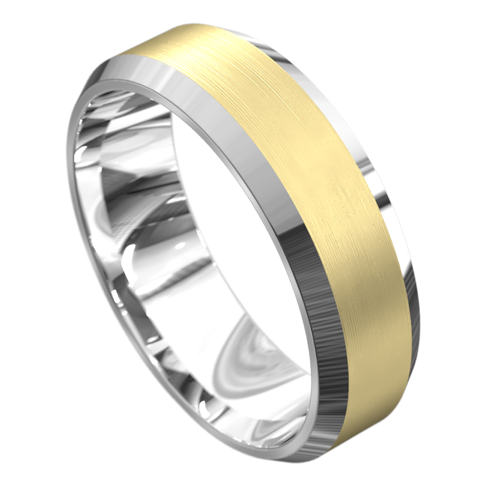 Brushed White and Yellow Mens Wedding Ring