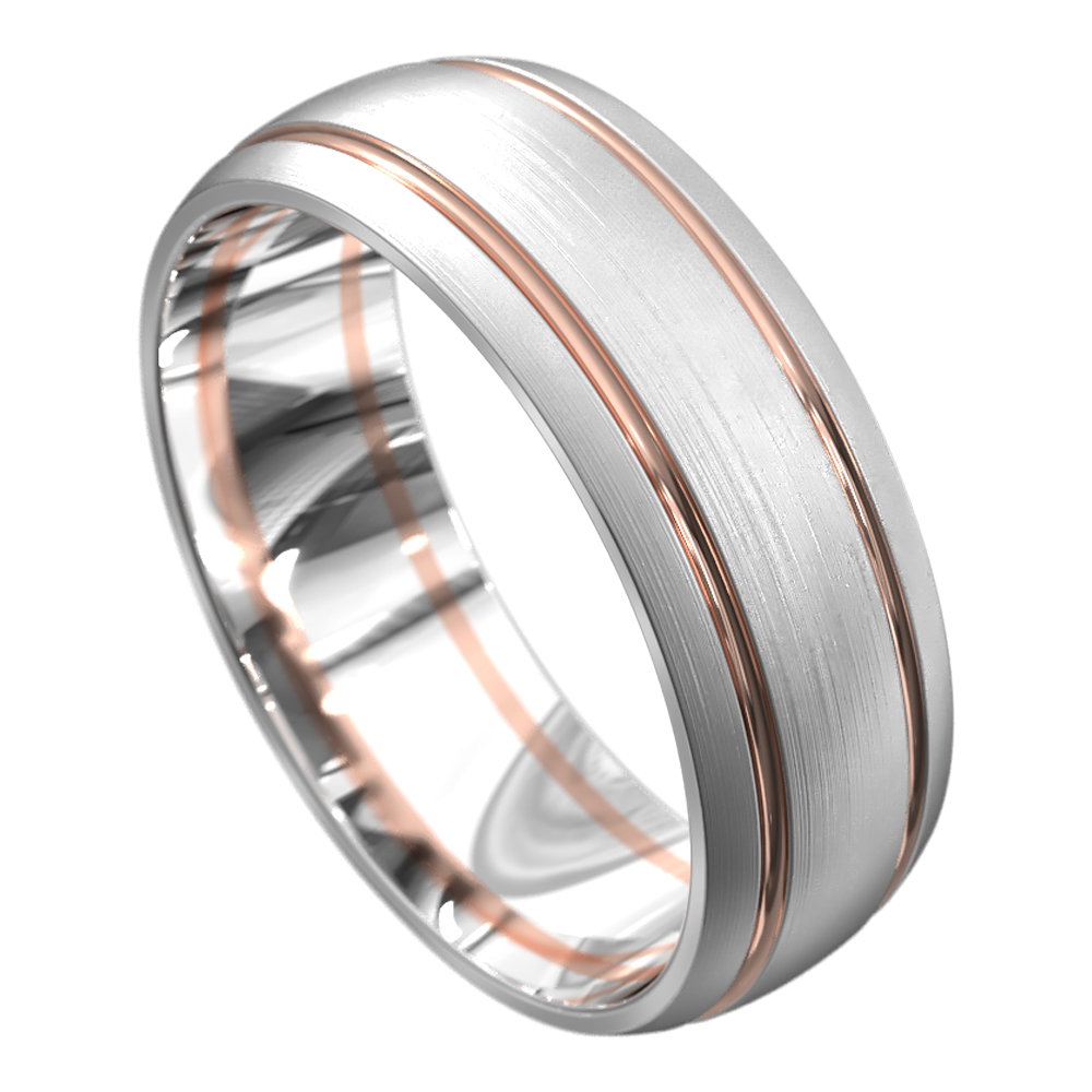 White and Rose Gold Brushed Mens Wedding Ring