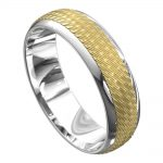 White and Yellow Gold Grooved Mens Wedding Ring