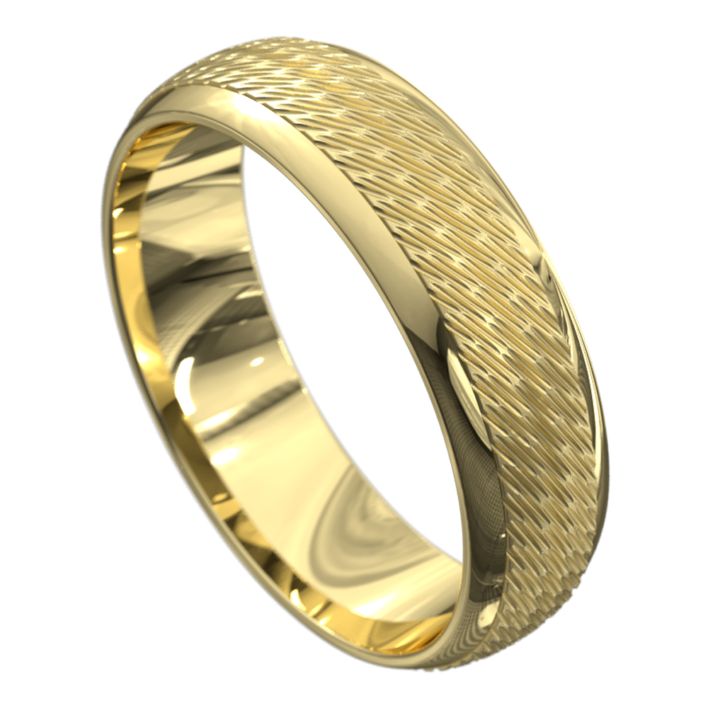 Polished Grooved Yellow Gold Mens Wedding Ring