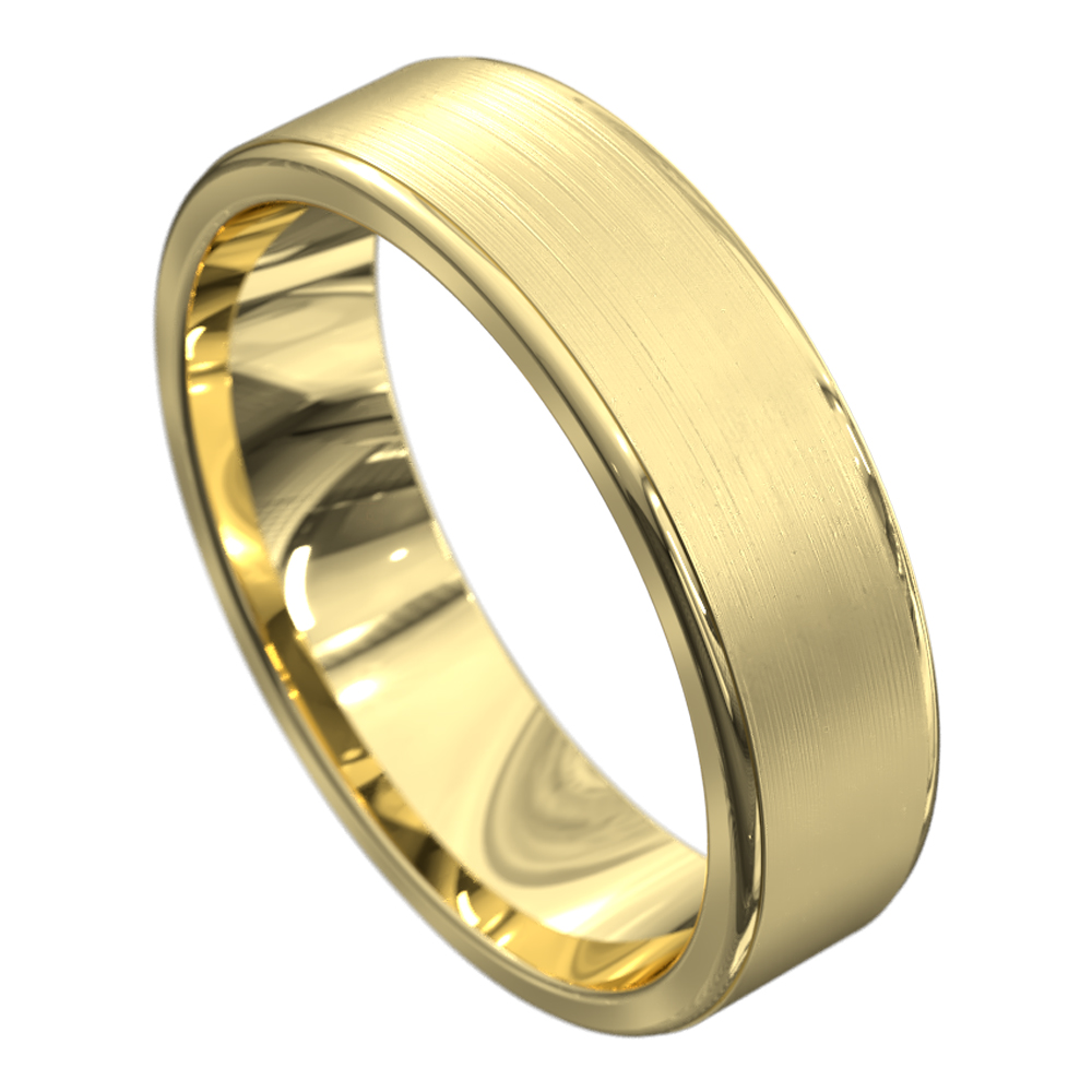 Brushed and Polished Yellow Gold