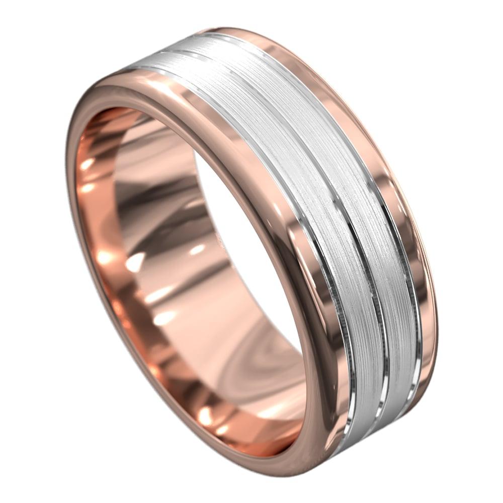 Rose and White Gold Satin Mens Wedding Ring