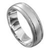 Brushed and Polished White Gold Mens Wedding Ring