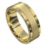 Brushed and Polished Yellow Gold Mens Wedding Ring