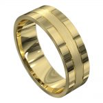 Yellow Gold Polished and Brushed Mens Wedding Ring