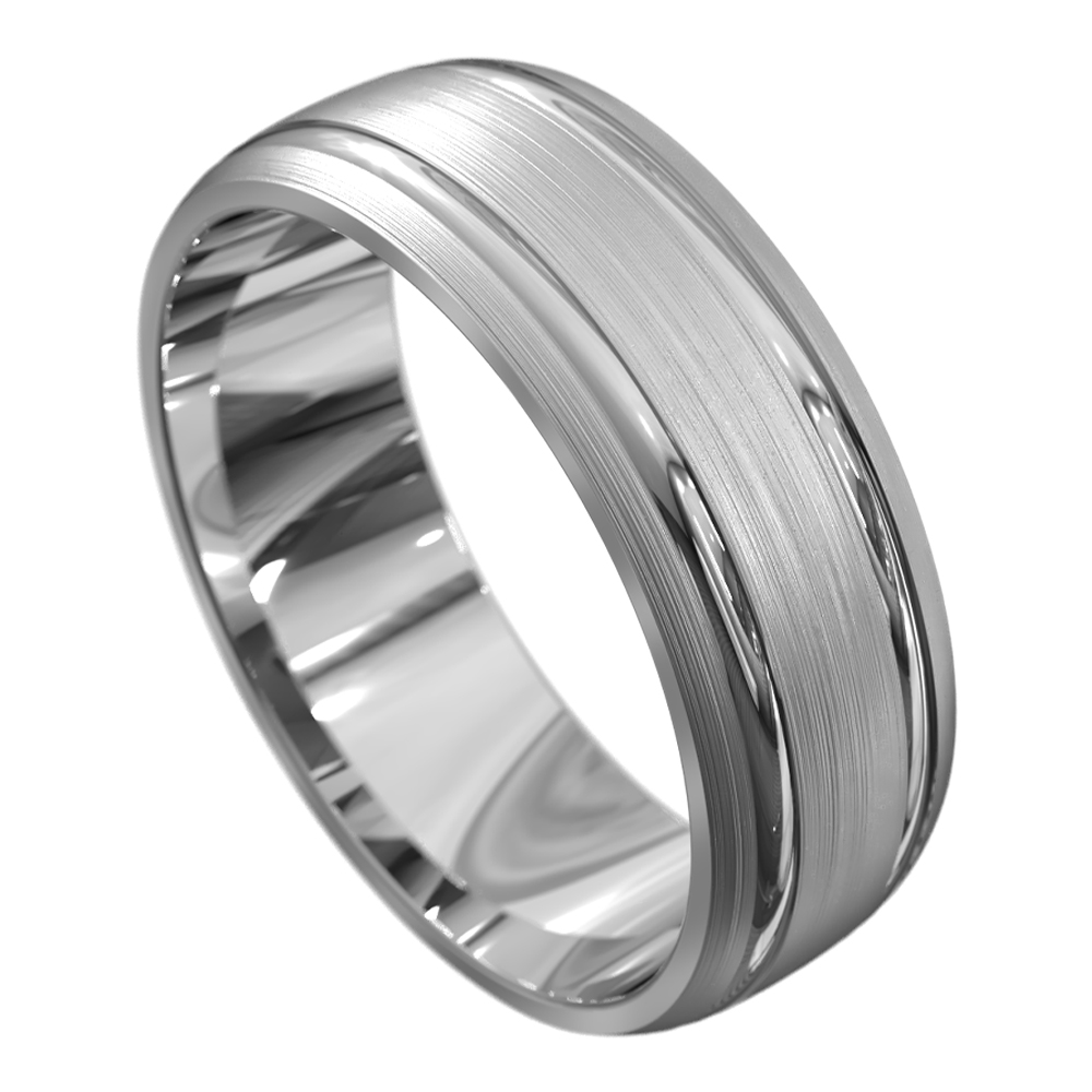 White Gold Polished and Brushed Mens Wedding Ring