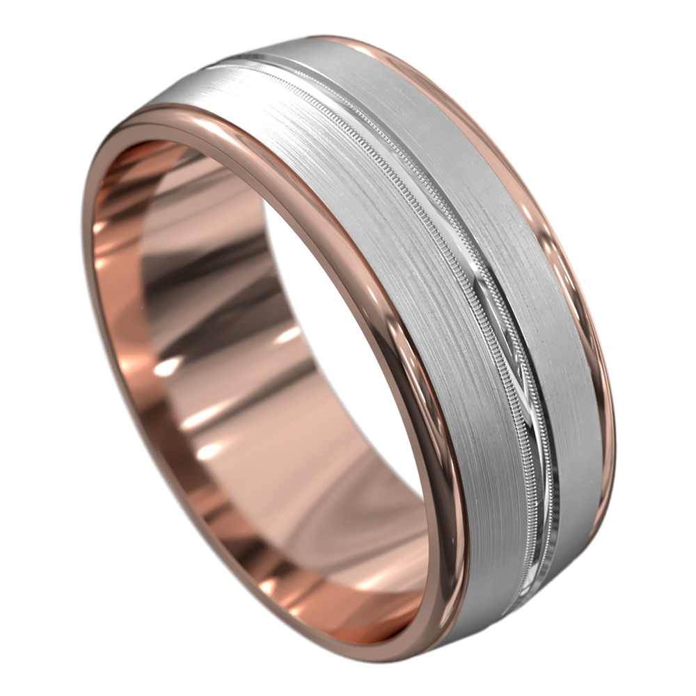 Rose and White Gold Brushed Mens Wedding Ring