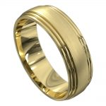 Stunning Yellow Gold Polished and Brushed Mens Wedding Ring
