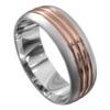 White and Rose Gold Satin Mens Wedding Ring