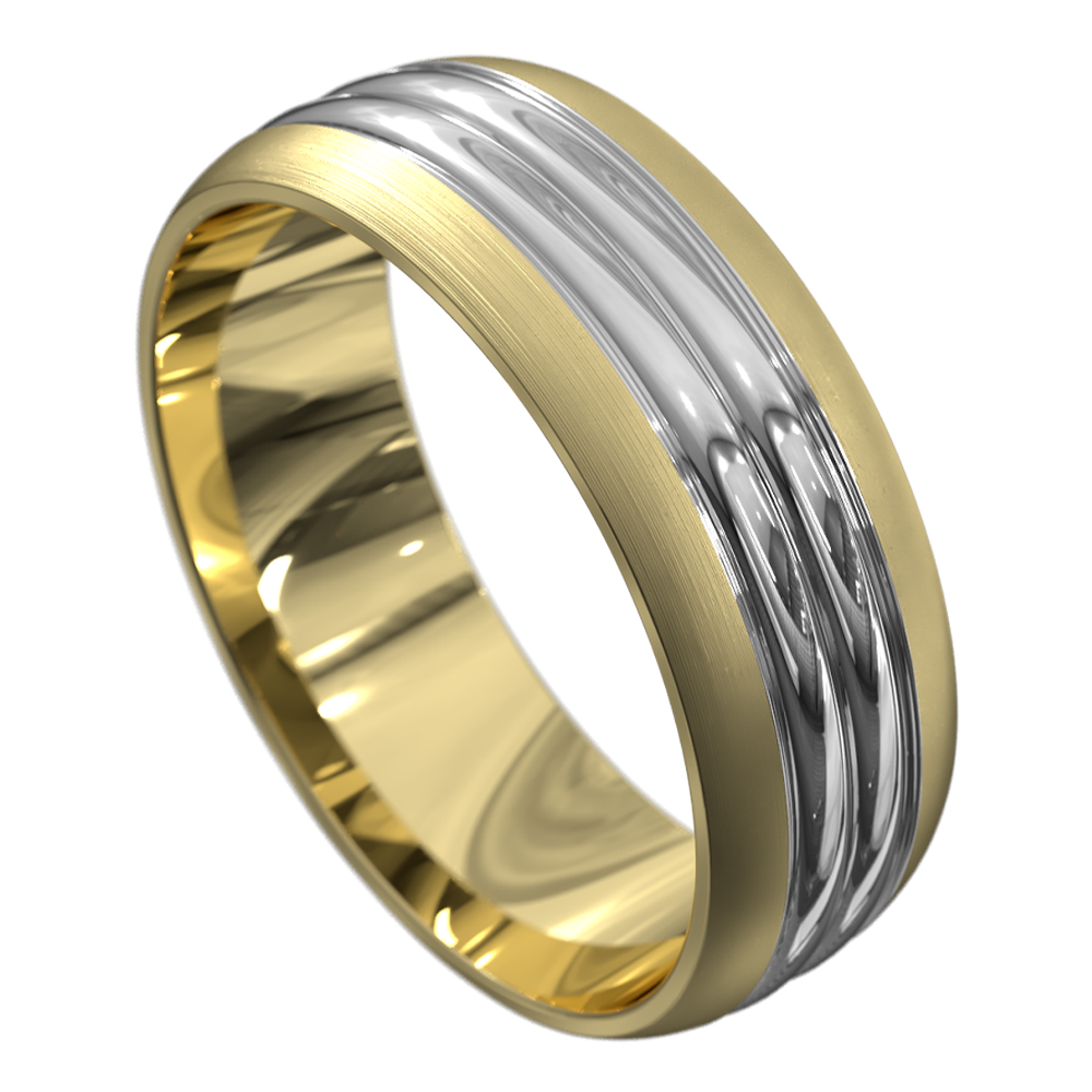 Satin Yellow and White Gold Mens Wedding Ring