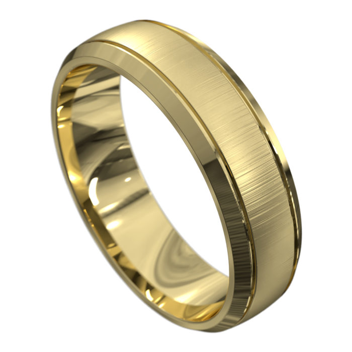 Stunning Brushed Yellow Gold Mens Wedding Ring