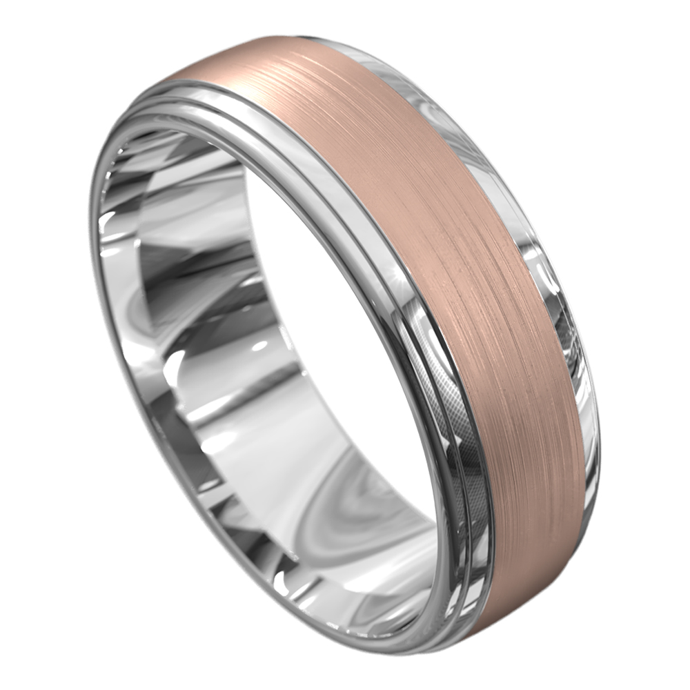 White & Rose Gold Brushed Mens Wedding Ring