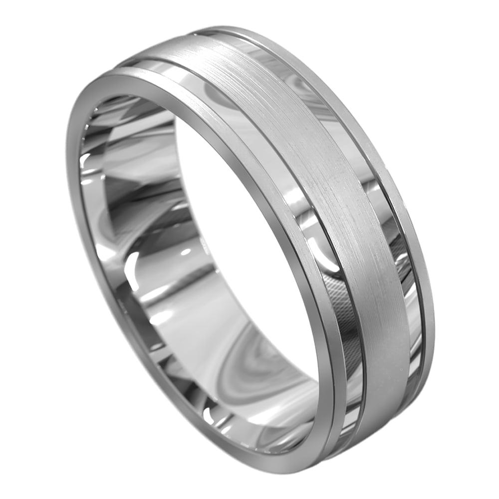 Polished and Brushed White Gold Mens Wedding Ring